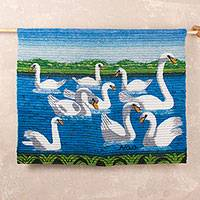 Wool tapestry, 'Swan Lake' - Peruvian Wool Tapestry