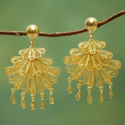 Gold-plated filigree earrings, 'Northern Dancers' - 21k Gold Plated Silver Earrings Statement Piece