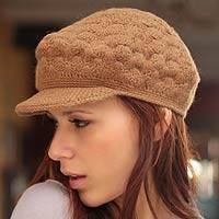 100% alpaca hat, 'Tan Newsboy Cap' - Women's Alpaca Wool Hat Knit in Peru