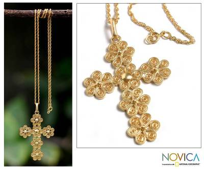 Gold plated cross necklace, 'Cross of Flowers' - Gold Plated Cross Necklace