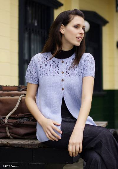 Alpaca blend sweater, 'Filigree Skies' - Alpaca blend sweater