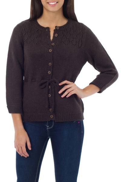 Alpaca blend sweater, 'Cocoa Highland Elegance' - Peruvian Women's Alpaca Blend Cardigan Sweater