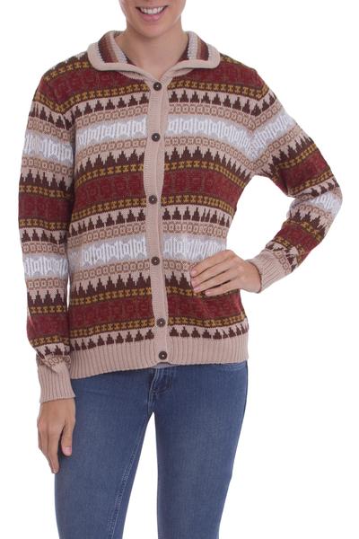 Alpaca blend sweater, 'Earth Honor' - Handcrafted Alpaca Blend Cardigan Sweater