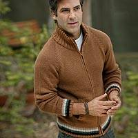 Men's alpaca jacket, 'Taking Flight in Cinnamon' - Men's Unique Alpaca Blend Zip Cardigan