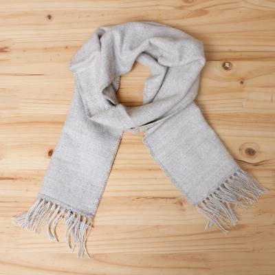 Alpaca blend scarf, Silver Gift of Warmth