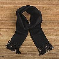 Alpaca blend scarf, 'Black Gift of Warmth'