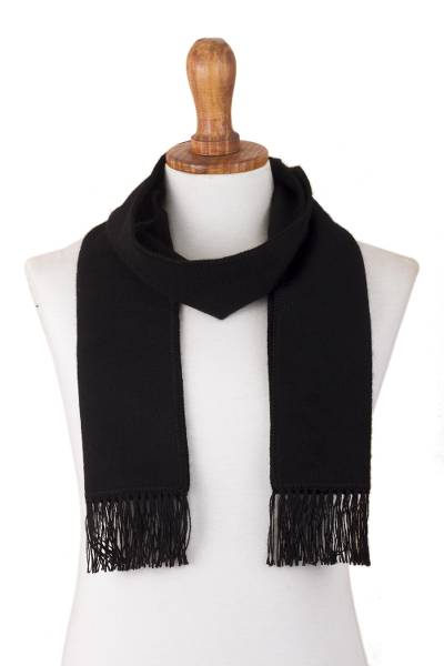 Alpaca blend scarf, 'Black Gift of Warmth' - Alpaca Blend Wrap Scarf in Black from Peru