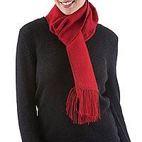 Featured review for Alpaca blend scarf, Cherry Wine