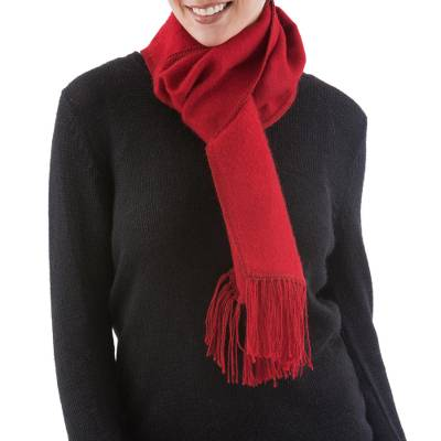 Alpaca blend scarf, 'Apple Red' - Handcrafted Alpaca Wool Blend Solid Scarf