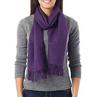 Alpaca blend scarf, 'Snug Violet'