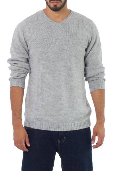 Alpaca blend men's sweater, 'Gray Favorite Memories' - Men's Unique Alpaca Blend V Neck Sweater