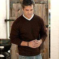 Alpaca men's sweater, 'Brown Favorite Memories'