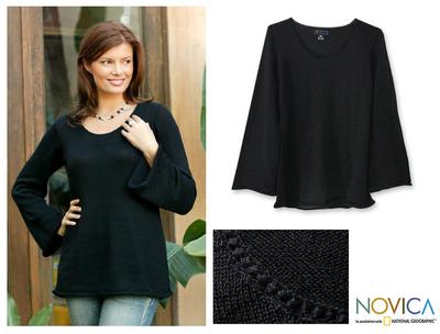 Alpaca blend sweater, 'Black Charisma' - Alpaca Blend Pullover Sweater