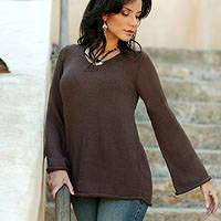 Alpaca blend sweater, 'Chocolate Charisma' - Fair Trade Womens Pullover from Peru