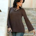 Brown Alpaca Blend Pullover Sweater, 'Chocolate Charisma'