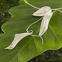 Silver choker, 'Silver Leaves at Dawn' - Silver choker