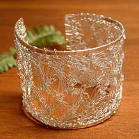 Silver cuff bracelet, 'Andean Lace'