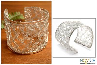 Silver cuff bracelet, 'Andean Lace' - Fine Silver Cuff Bracelet