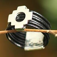Leather band ring, 'Chakana Cross' - Leather band ring