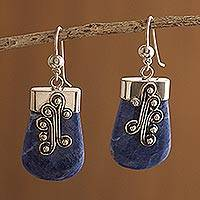 Sodalite dangle earrings, 'Renewal' - Unique Sterling Silver and Sodalite Dangle Earrings