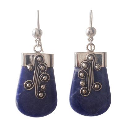 Sodalite dangle earrings, 'Renewal' - Unique Sterling Silver and Sodalite Dangle Earrings