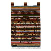 Wool tapestry, 'Ceremonial Mask' - Wool tapestry