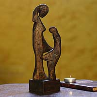 Wood sculpture, 'In Eternum' - Wood sculpture