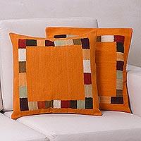 Wool cushion covers, 'Gate to the Sun' (pair) - Wool cushion covers (Pair)