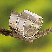 Sterling silver ring, 'Holding You'