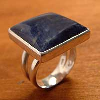 Sodalite cocktail ring, 'Transformations' - Hand Made Fine Silver Sodalite Cocktail Ring