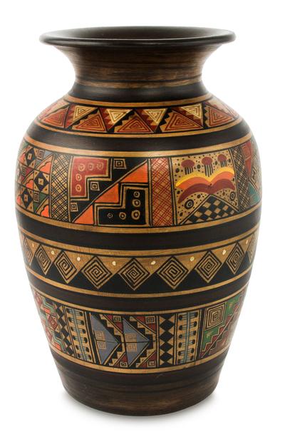 Ceramic vase, 'Sowing Fields' - Inca Ceramic Vase Brown Painted Handmade in Peru