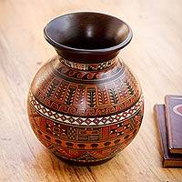 Aged Cuzco vase, 'Magic of Urubamba' - Hand Painted Cuzco Ceramic Vase