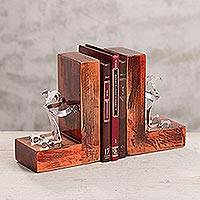 Aluminum bookends, 'Harlequin Fortress' - Aluminum and Wood Bookends