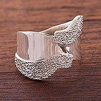 Sterling silver wrap ring, 'Love of Nature'