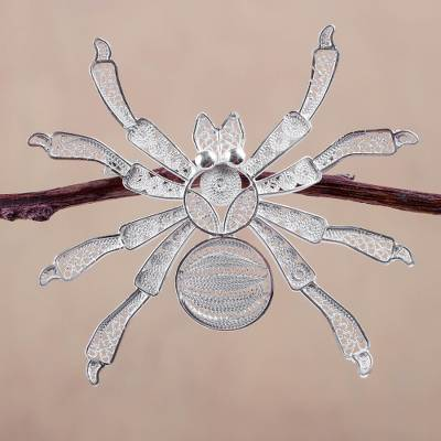 Silver filigree brooch pin, Gossamer Spider