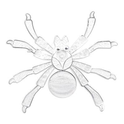 Silver filigree brooch pin, 'Gossamer Spider' - Fine Silver Filigree Brooch Pin from Peru