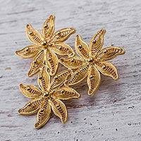 Gold plated filigree brooch pin, 'Amazon Bouquet'