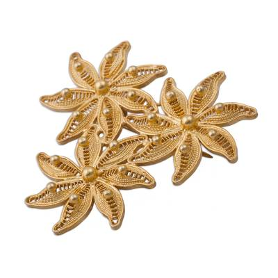 Gold plated filigree brooch pin, 'Amazon Bouquet' - Floral Gold Plated Filigree Brooch Pin