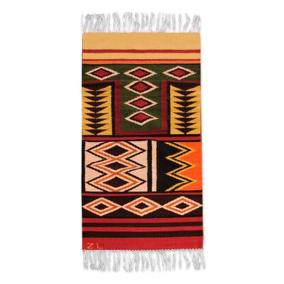 Wool runner, 'Sacred Valley' (2x5) - Pure Wool Area Rug (2x5)