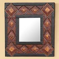 Leather mirror, 'Diamonds' - Leather mirror