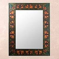 Leather mirror, 'Bronze Butterflies' - Butterfly Patterned Framed Leather Mirror from Peru