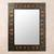 Leather mirror, 'Bronze Butterflies' - Unique Rectangular Leather Wall Mirror (image p157917) thumbail