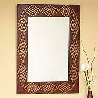 Leather mirror, 'Gordian Knot' (large) - Handmade Leather Mirror (Large)