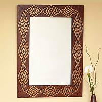 Leather mirror,
