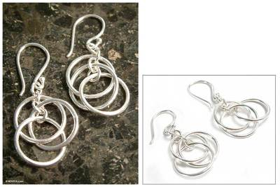 Silver dangle earrings, 'Trio' - Silver dangle earrings