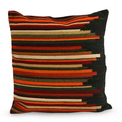 Wool cushion cover, 'Andean Dream' - Geometric Wool Striped Cushion Cover