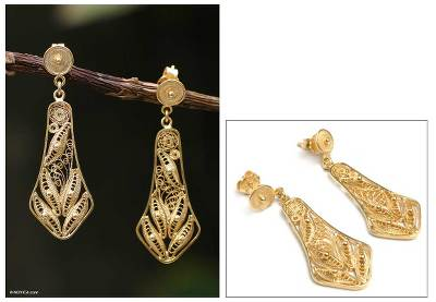 Gold plated filigree earrings, 'Bells' - Handmade Gold Plated Filigree Earrings from Peru