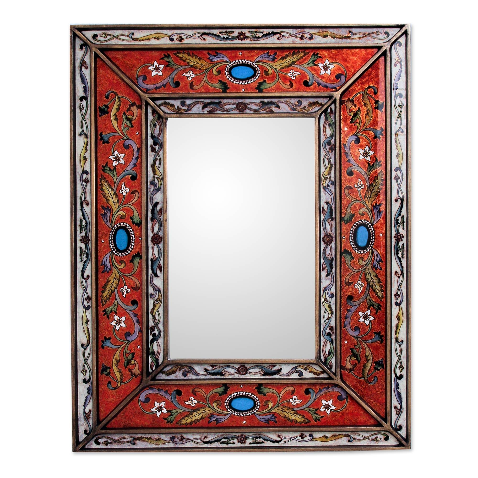 Rectangular Reverse Painted Glass Wall Mirror