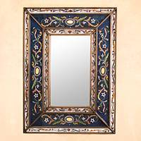 Reverse painted glass mirror, 'Cajamarca Frost' - Hand Made Floral Glass Wood Rectangle Mirror
