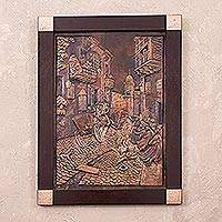 Copper panel, 'Duel' - Copper Panel Street Scene Handcrafted in Peru